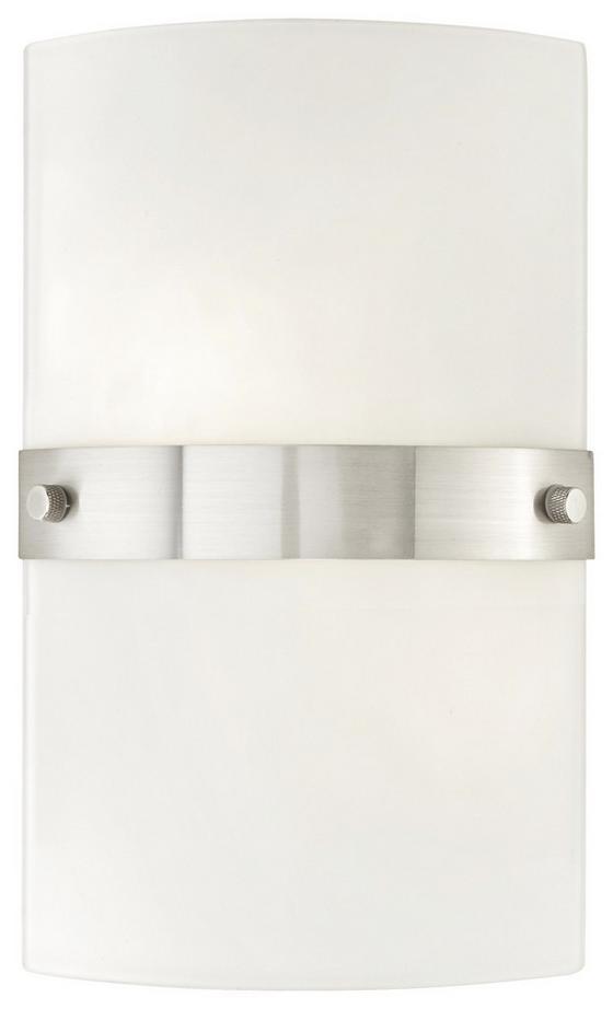 Wandleuchte Square - Weiß/Nickelfarben, KONVENTIONELL, Glas/Metall (15/25,5cm) - Ombra