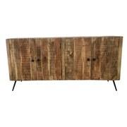 Lowboard Vintage 160 cm Echtholz - Schwarz/Naturfarben, KONVENTIONELL, Holz (160/78/45cm)
