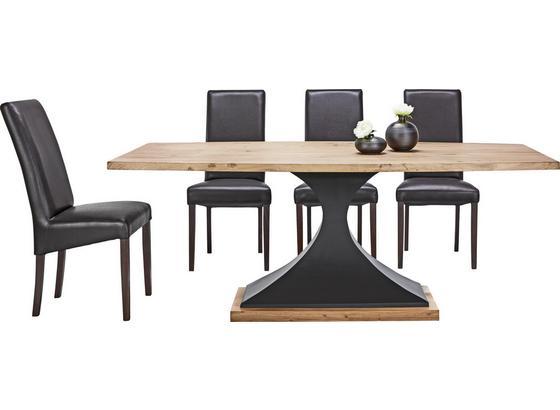 Jedálenský Stôl Django - čierna/farby akácie, Štýlový, kov/drevo (203/76/102cm) - Premium Living