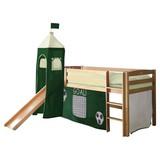 Spielbett Toby R 90x200 cm Dunkelgrün - Dunkelgrün/Naturfarben, Natur, Holz (90/200cm) - Carryhome
