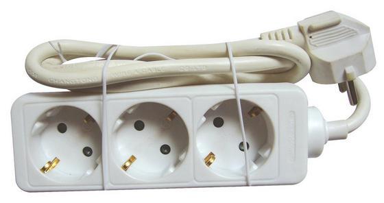 Steckdosenleiste 3-fach - Weiß, KONVENTIONELL, Kunststoff (140cm)