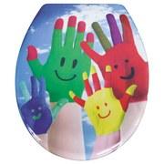WC-Sitz Duroplast Colorfull Fingers - Multicolor, MODERN, Kunststoff (37,4/45,3cm)