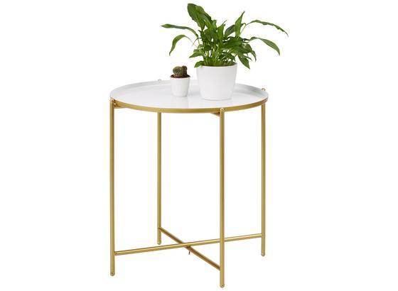 Odkladací Stolík Leah -trend- - zlatá/biela, Moderný, kov (47/50cm) - Modern Living