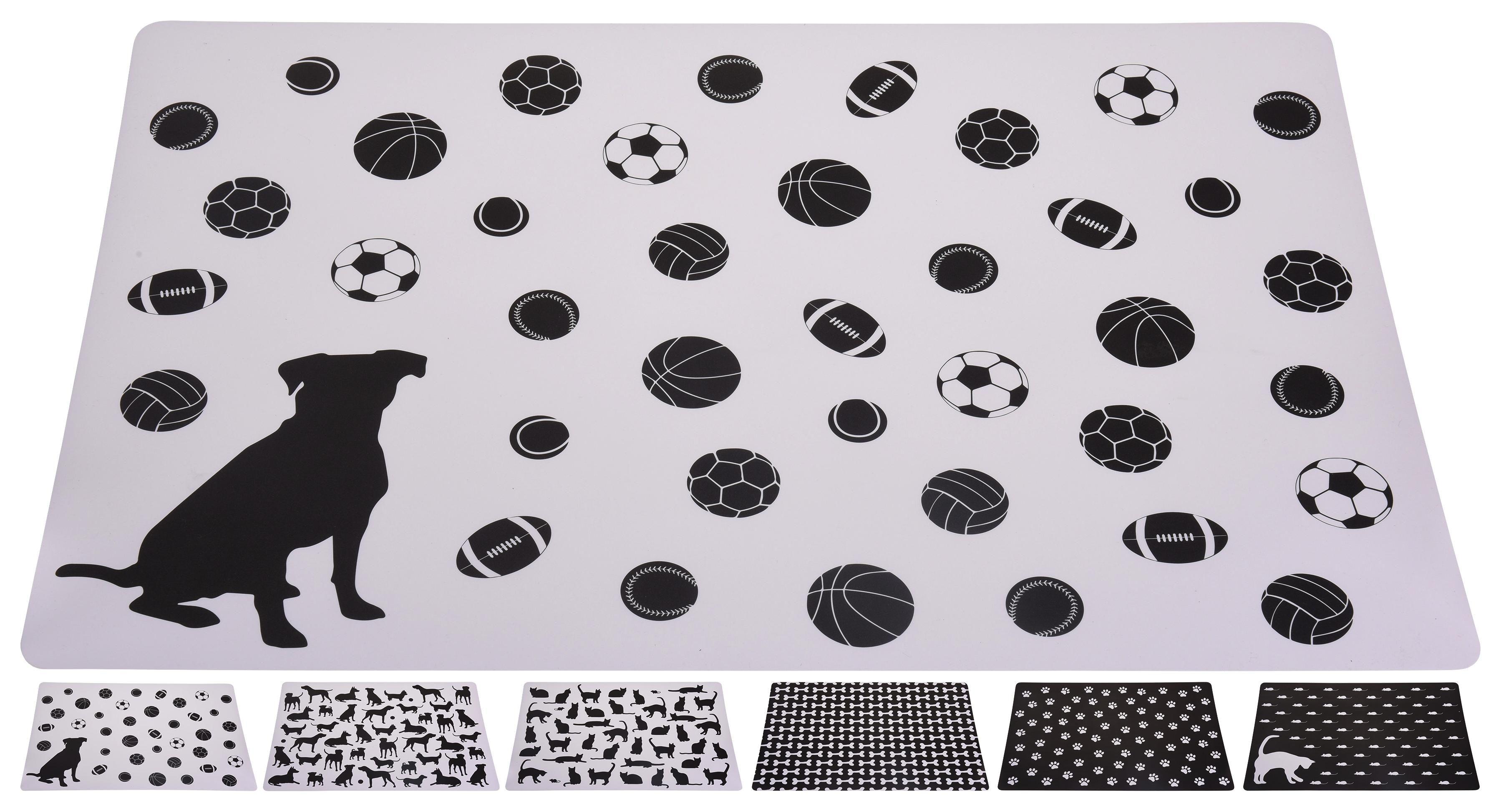 Napfunterlage Furry - Schwarz/Weiß, Basics, Kunststoff (37/56cm)