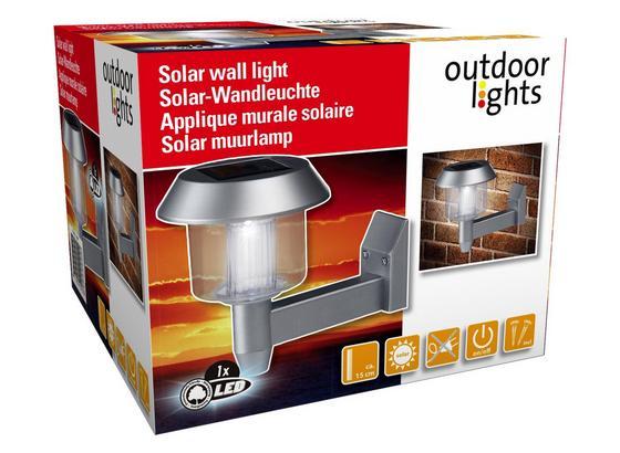 Solarleuchte Outdoor - Edelstahlfarben, MODERN, Kunststoff (12/15cm)