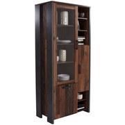 Vitrine Clif B:92cm Old-wood Vintage Dekor/ Betonoptik - Dunkelgrau, MODERN, Glas/Holzwerkstoff (91,7/204,9/41,6cm)