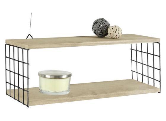 Nástenný Regál Cage - prírodné farby/čierna, Moderný, kov/drevo (60/22/20cm) - Modern Living