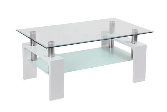 Dohányzóasztal Silvia - Átlátszó/Fehér, modern, Faalapú anyag/Üveg (100/45/60cm)