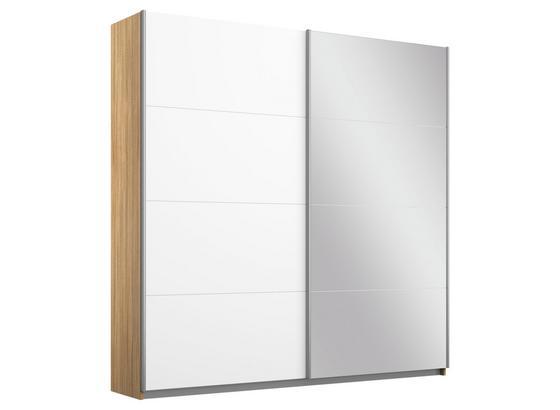 Schwebetürenschrank mit Spiegel 181cm Belluno, Weiß Dekor - Weiß/Sonoma Eiche, MODERN, Holzwerkstoff (181/210/62cm)