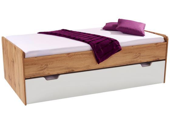Posteľ Maxi 2 90/200 Dub Wotan/biela - farby dubu/biela, Konvenčný, kompozitné drevo (207/58/95cm)