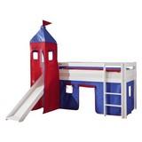 Spielbett Alex 90x200 cm Buche Massiv - Rot/Dunkelblau, Design, Holz/Textil (90/200cm) - MID.YOU