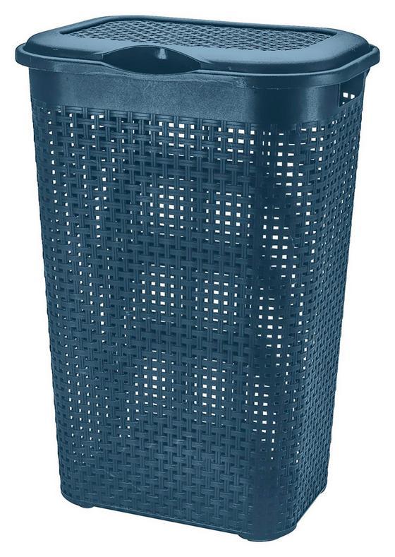 Szennyestartó Rattan - Kék, konvencionális, Műanyag (39/29/57cm)