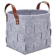 Regalkorb Alberich S - Braun/Grau, ROMANTIK / LANDHAUS, Leder/Textil (27/23cm) - James Wood