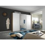 Schwebetürenschrank mit Spiegel 271cm Belluno, Weiß Dekor - Weiß/Sonoma Eiche, MODERN, Holzwerkstoff (271/210/62cm)