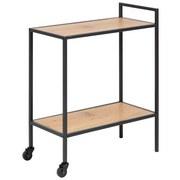 Tabletttisch mit 2 Rollen + Ablagefach Seaford Eichefarben - Eichefarben/Schwarz, Trend, Holzwerkstoff/Metall (60,0/75,0/30,0cm) - MID.YOU