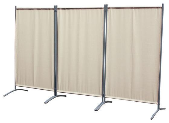 Sichtschutz-Trennwand 3-teilig - Sandfarben/Silberfarben, MODERN, Kunststoff/Metall (258/155/60cm)