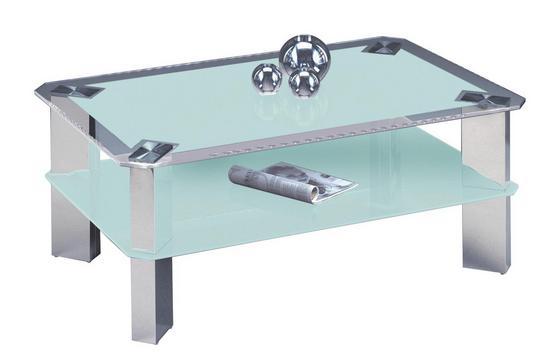 Dohányzóasztal Astana - Nemesacél/Fehér, modern, Üveg/Fém (110/70/44cm)