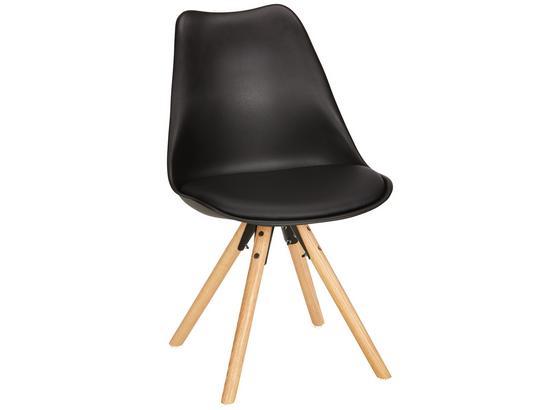 Stolička Lilly - farby dubu/čierna, Moderný, drevo/plast (48/81/57cm) - Modern Living