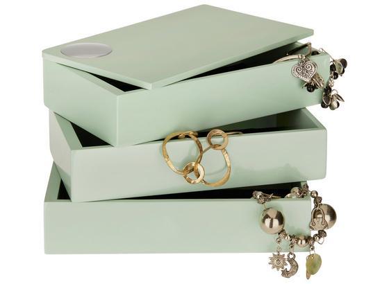 Šperkovnice Joris - mátově zelená, Moderní, kompozitní dřevo (19,1/12,9/11,8cm) - Mömax modern living