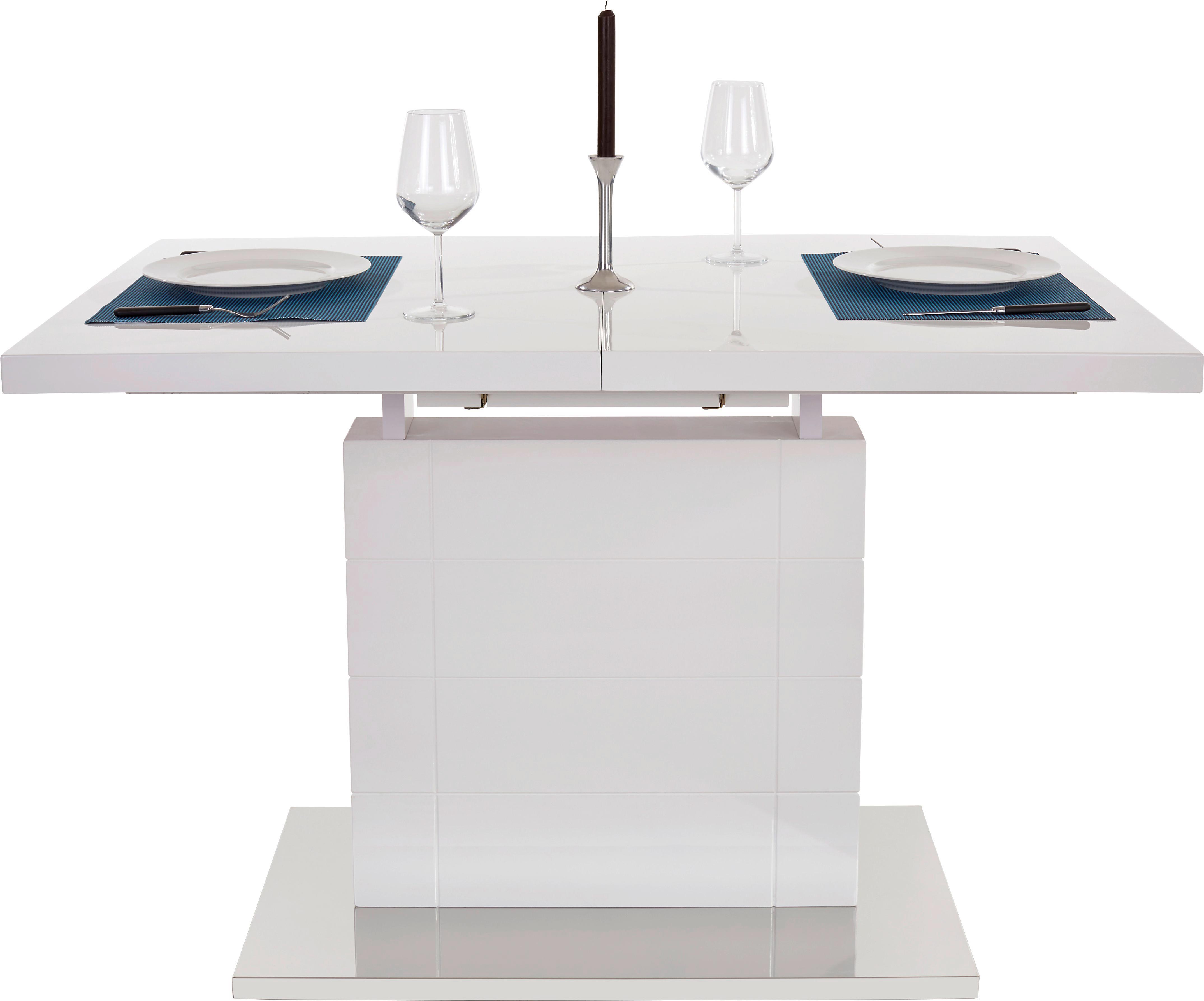 Ausziehbarer Esstisch Raymond 120cm Weiß Hochglanz   Edelstahlfarben/Weiß,  MODERN, Holzwerkstoff/Metall