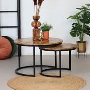 Couchtischset Mango 2-er Set Naturfarben - Schwarz/Naturfarben, MODERN, Holz/Metall (80/80/48cm) - Livetastic