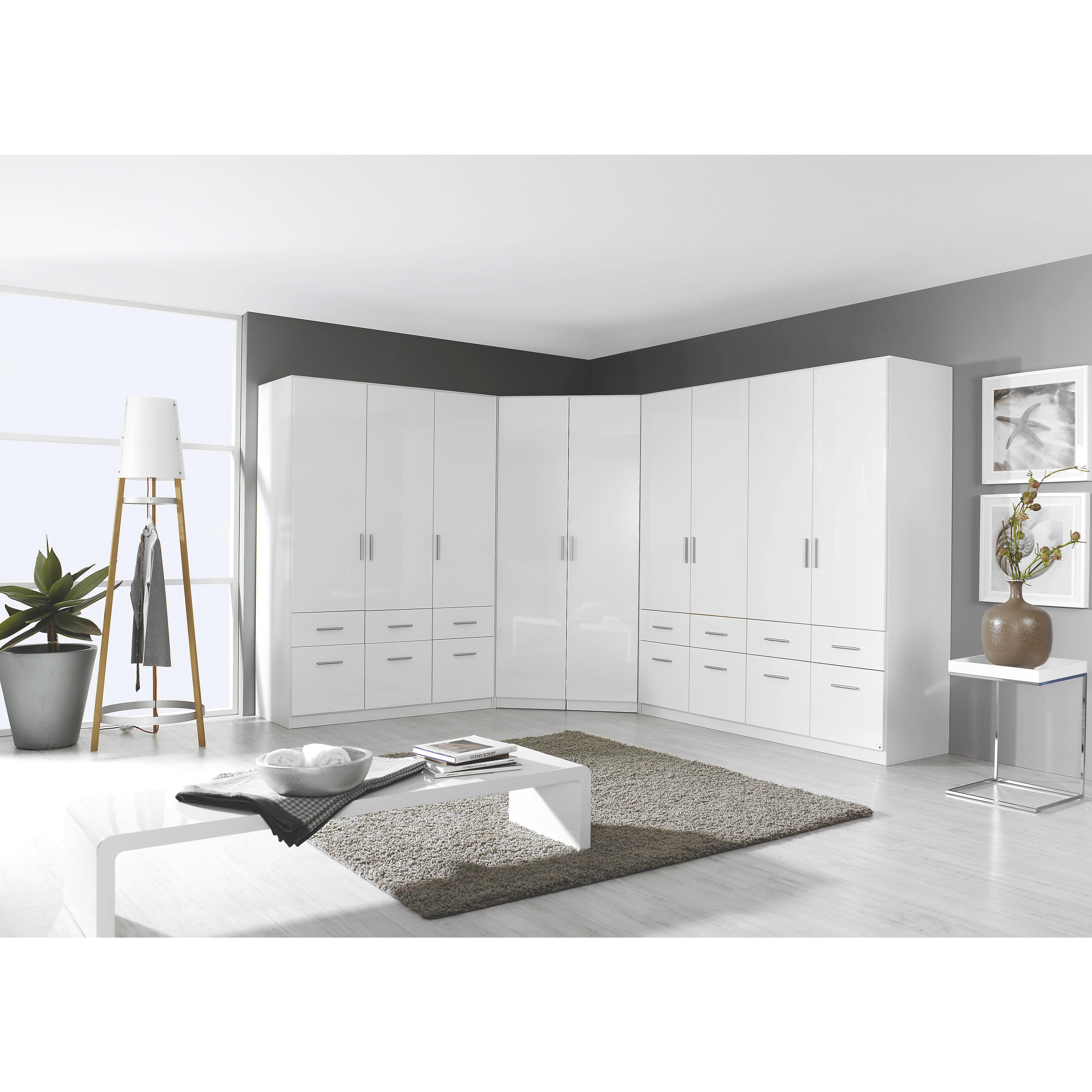 Kleiderschrank in Weiß Hochglanz mit 3 Drehtüren