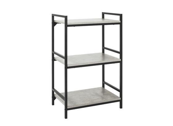 Regál Sandro 3 - černá/světle šedá, Moderní, kov/kompozitní dřevo (60/100/40cm)