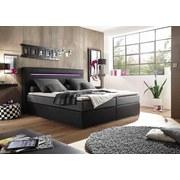 Boxspringbett Cardiff 1 ca. 180x200 cm - Silberfarben/Schwarz, Trend, Holzwerkstoff/Textil (180/200cm) - Carryhome