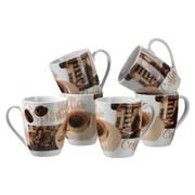 Kaffeebecher Latte Macchiato 6-Tlg - Braun/Weiß, Basics, Keramik (40/30/20cm)