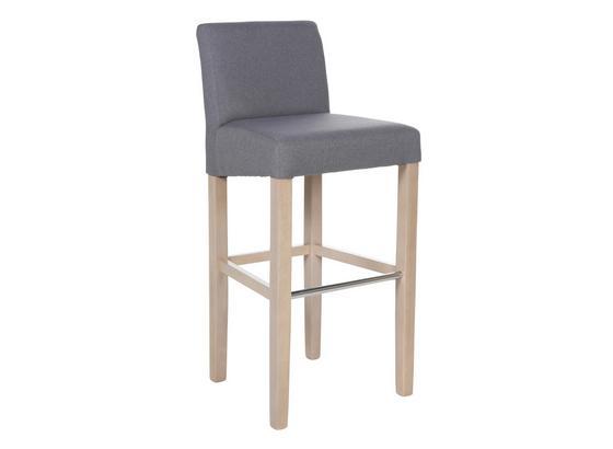 Barová Židle Ana Šedá - šedá/barvy dubu, Konvenční, dřevo/textil (47/101/44cm)