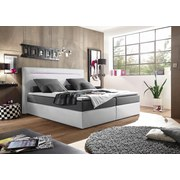 Boxspringbett Cardiff 1 ca. 180x200 cm - Silberfarben/Weiß, Trend, Holzwerkstoff/Textil (180/200cm) - Carryhome