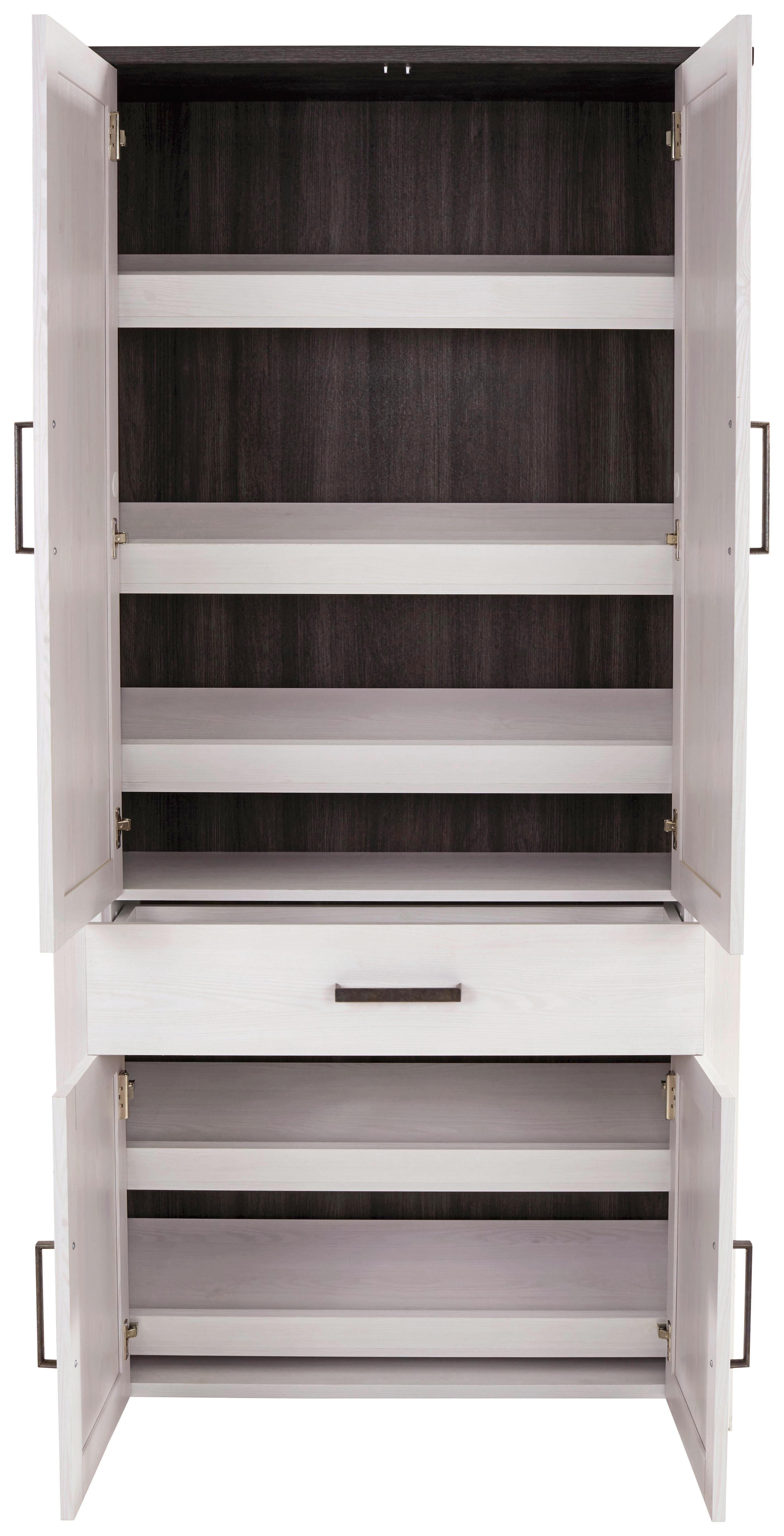 Előszobaszekrény Provence - fehér/wenge színű, modern, faanyagok (98/200/42cm) - JAMES WOOD