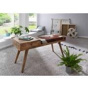 Sitzbank Salim B: 100 cm Mangoholz - Braun/Weiß, Natur, Holz/Fell (100/52/38cm) - MID.YOU