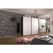 Schwebetürenschrank Belluno 226 cm Grau/ Weiß - Dunkelgrau/Weiß, MODERN, Holzwerkstoff (226/210cm)