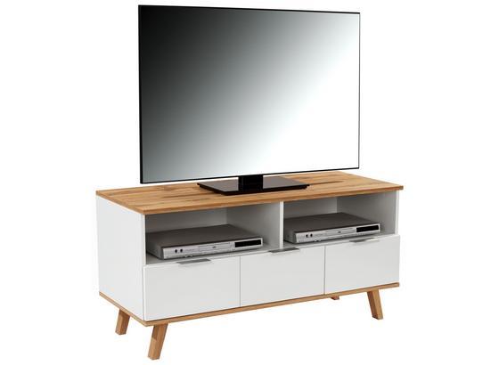 Tv Stolík Turin 1 - farby dubu/biela, Moderný, kompozitné drevo (120/55/40cm)