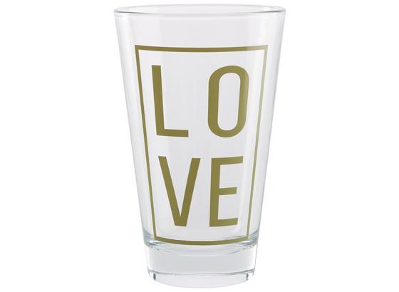 Pohár Love - zlatá/číre, Moderný, sklo (8/12,4cm) - Mömax modern living