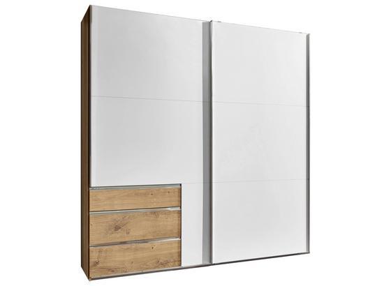 Schwebetürenschrank mit Schubladen 200cm Level 36a - Eichefarben/Weiß, MODERN, Holzwerkstoff (200/216/65cm)