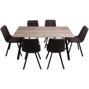 Tischgruppe Zürs - Eichefarben/Schwarz, MODERN, Holzwerkstoff/Textil (160/59/90/88/75/48,5cm)