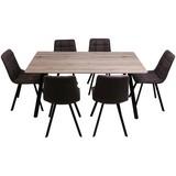 Tischgruppe Zürs Rahmenkonstruktion - Eichefarben/Schwarz, MODERN, Holzwerkstoff/Textil (160/59/90/88/75/48,5cm)