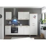 Küchenblock Retro B:275cm Weiß/Eiche Dekor - Eichefarben/Weiß, LIFESTYLE, Holzwerkstoff (275/215/60cm) - MID.YOU