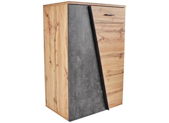 Kommode Venedig B:80cm Wotan Eiche Dekor/Beton Dunkel - Eichefarben/Schwarz, MODERN, Holzwerkstoff (80/110/40cm)
