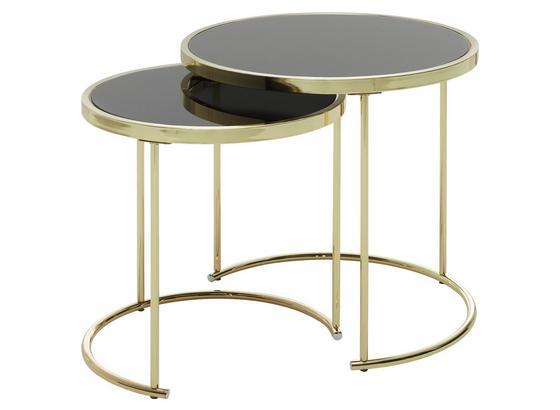 Satztisch Cora 2-Teilig - Goldfarben, Design, Glas/Metall (42/45/42cm) - Livetastic