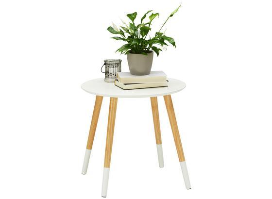 Odkladací Stolík Vicenca - prírodné farby/biela, Moderný, drevo/kompozitné drevo (48/46/48cm) - Modern Living