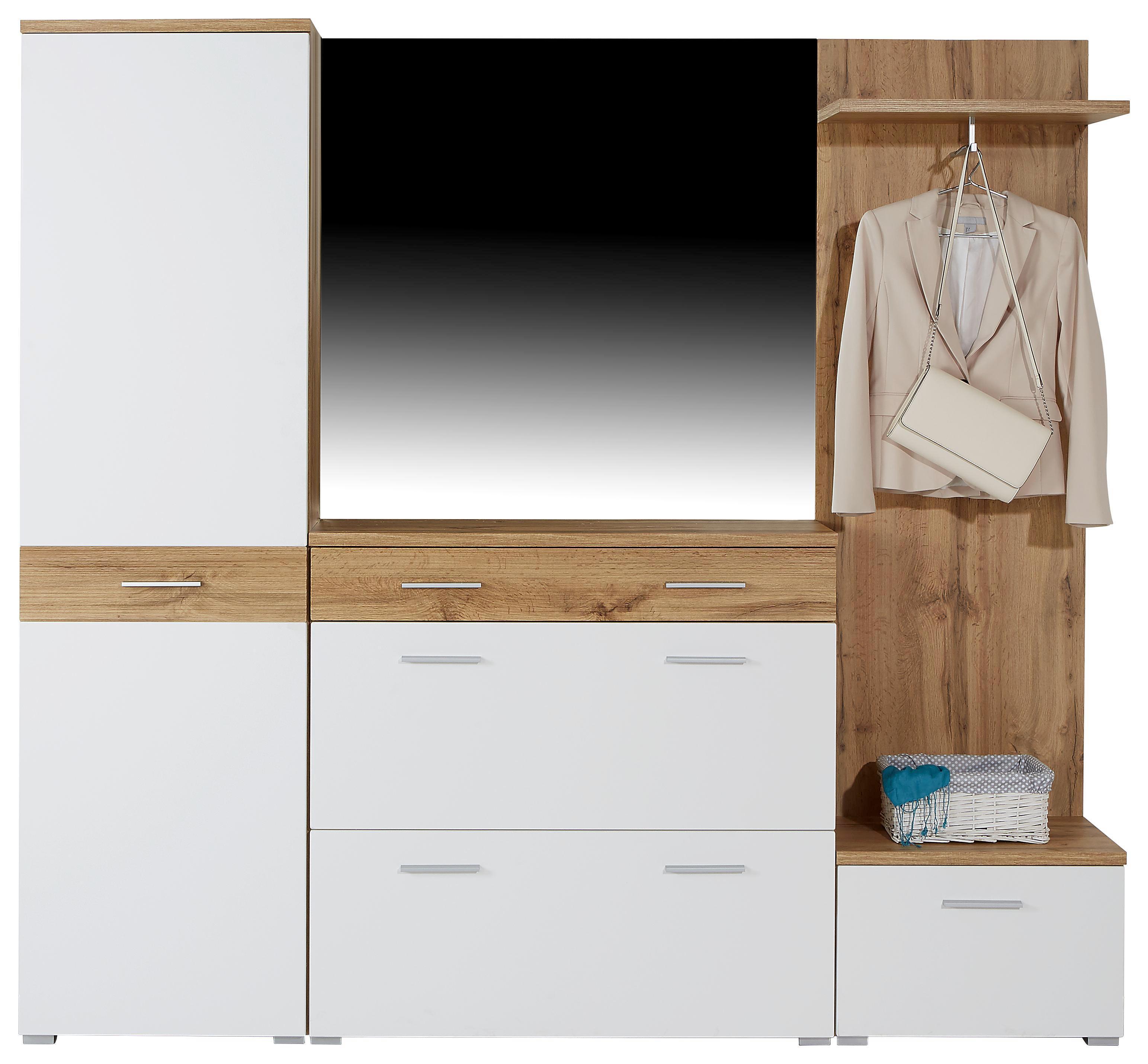 Šatní Skříň Space New - bílá/barvy dubu, Moderní, dřevěný materiál (55/199/35cm)