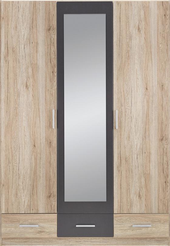 Skriňa S Dvermi Bühl - farby dubu/sivá, drevo (136/197/54cm)