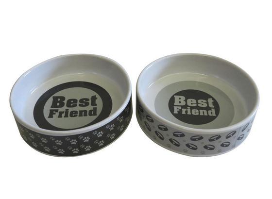 Miska Na Krmení Patty - světle šedá/tmavě šedá, keramika (14/4cm) - Mömax modern living