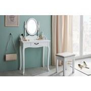 Schminktisch Sabrina 70 cm Weiß - Weiß, ROMANTIK / LANDHAUS, Glas/Holz (70/132/40cm) - MID.YOU
