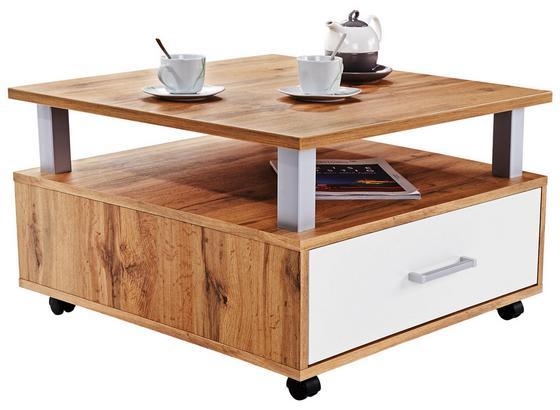Couchtisch Holz mit Lade+ Ablagefach Duo, Eichendekor - Weiß/Braun, KONVENTIONELL, Holzwerkstoff (75/45/75cm)