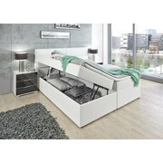 Boxspringbett mit Bettkasten, Lederlook 180x200cm Mercura - Weiß, MODERN, Holzwerkstoff/Textil (195/115/220cm)