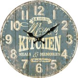Wanduhr Kitchen - Blau/Weiß, MODERN, Holzwerkstoff (33,8/33,8/3,8cm)